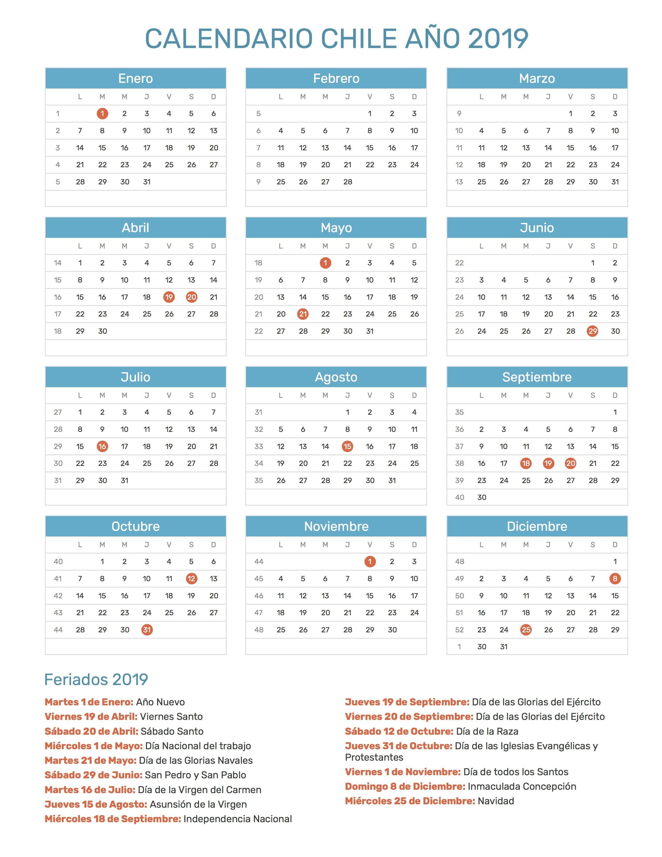Calendario Con Semanas 2019 Chile.Calendario 2019 Chile Calendario 2019 Chile Calendar