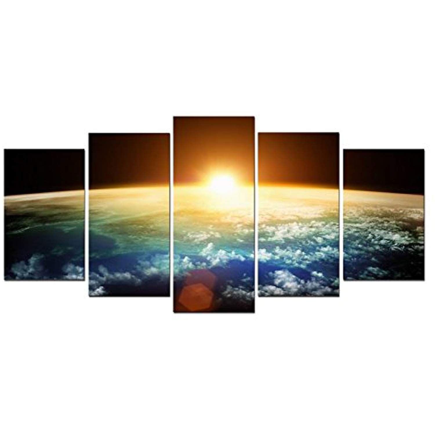 Pyradecor The Earth 5 Panels Extra Large Modern Landscape Artwork Giclee Canvas Prints Space Modern Wall Art Canvas Wall Canvas Painting Framed Canvas Wall Art