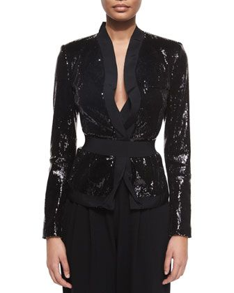 Allover Sequined Belted Jacket by Donna Karan at Neiman Marcus.