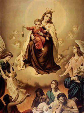 Nossa Senhora salvando as Almas do Purgatório. | Our lady, Imagens  católicas, Arte católica