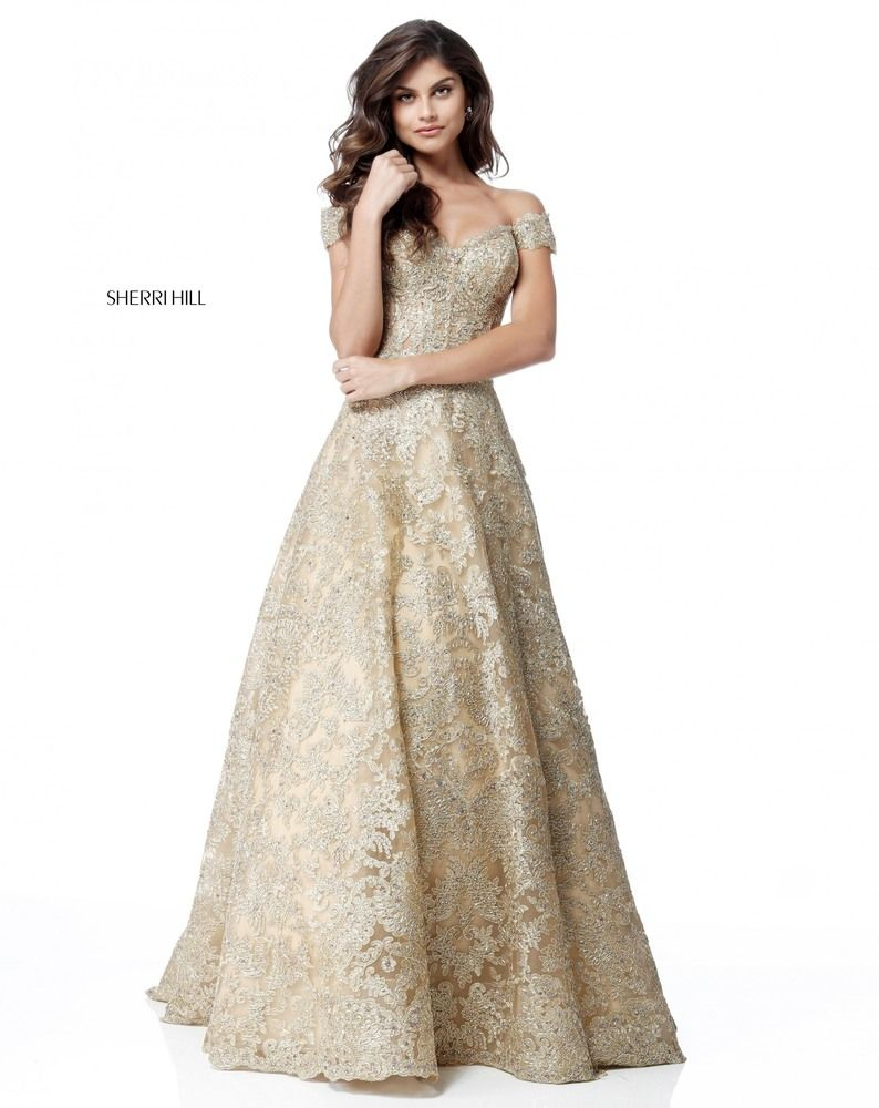 f3dbdb99ae Gold beaded ballgown prom dress with off the shoulders. Also available in  light blue.