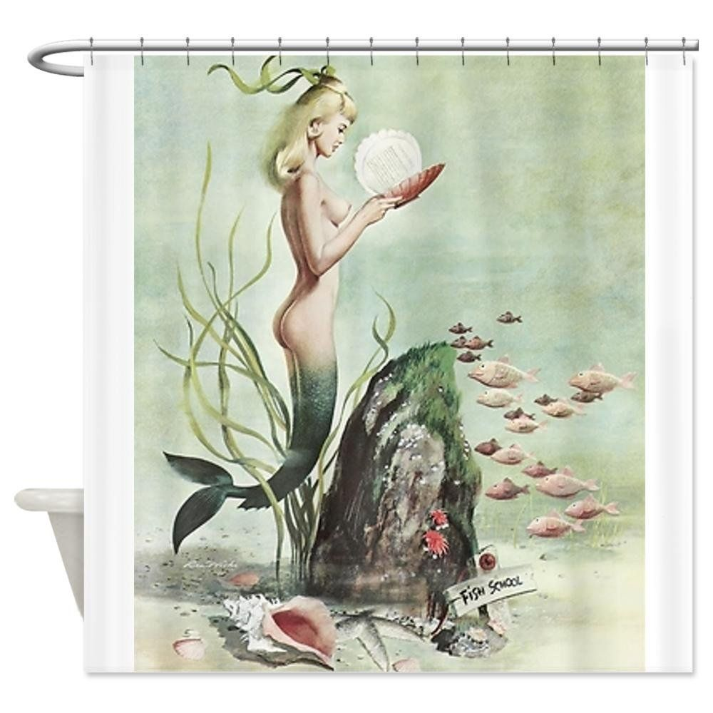 Mermaid shower curtains - Retro Pin Up Mermaid With School Of Fish Shower Curtain
