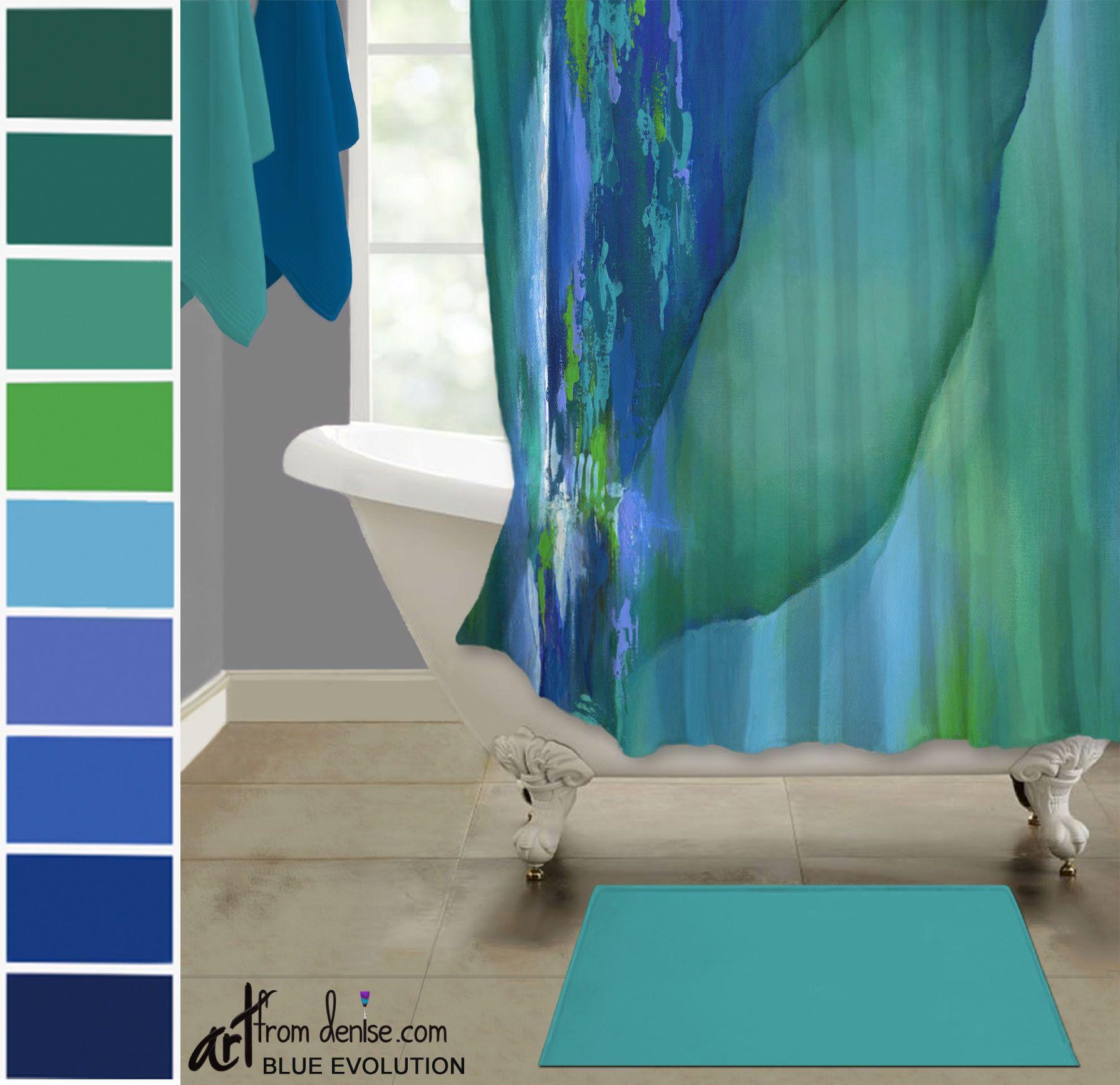 Green Blue And Teal Shower Curtain Modern Master Bathroom Decor