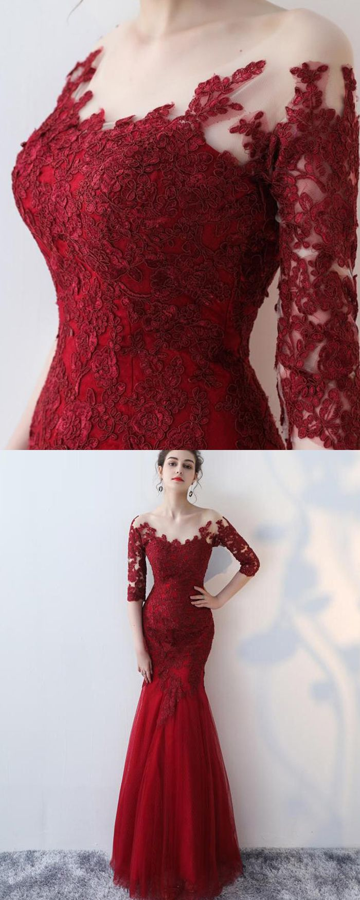 Off the shoulder burgundy appliqued mermaid prom dress with half