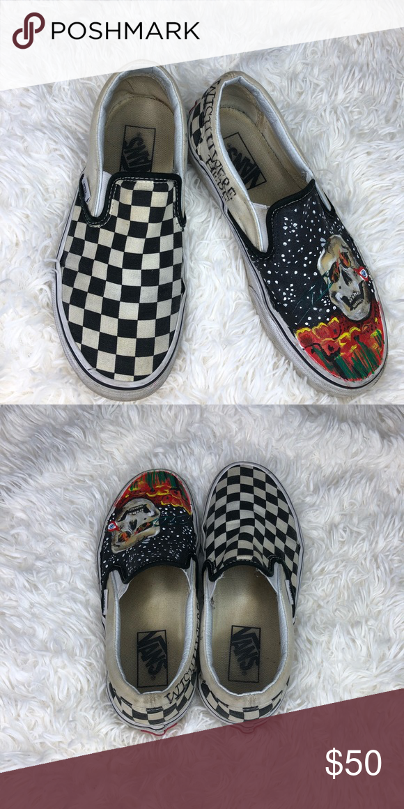0146d3aee3 ASTRO WORLD VANS Checker Astro vans . Painting by me .. clearly is used vans  . Size 6 Please no low offers you will respectfully get blocked Vans Shoes