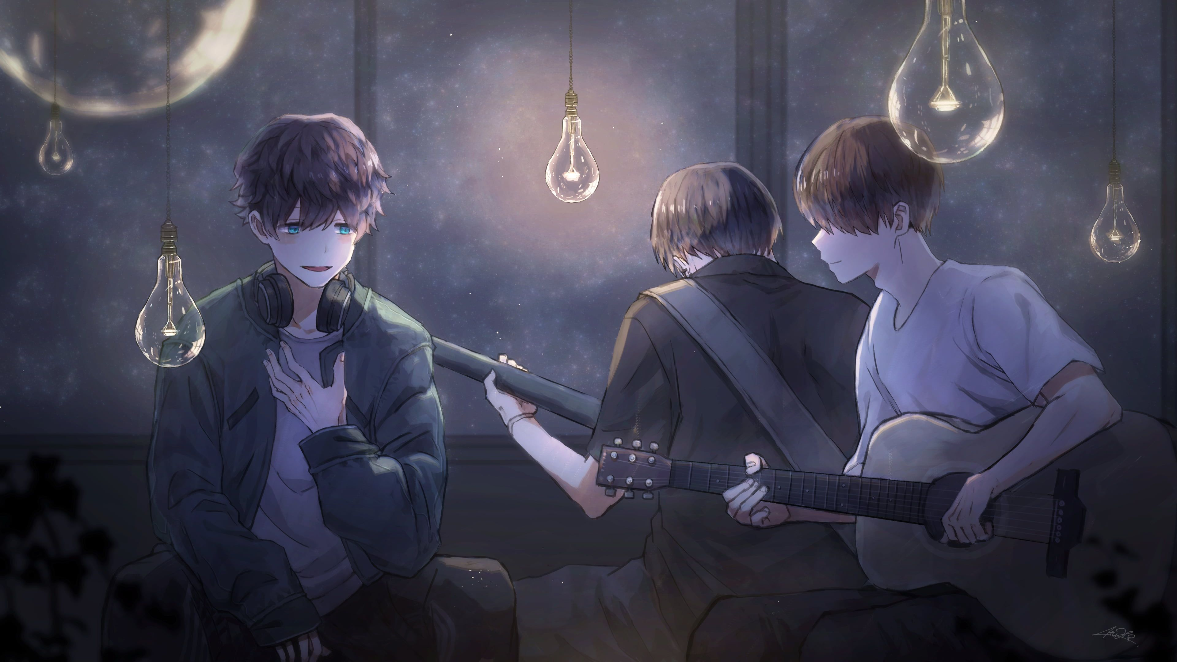 Anime Anime Boys Headphones Guitar 4k Wallpaper Hdwallpaper Desktop Anime Anime Boy Anime Wallpaper Anime boy with guitar wallpaper