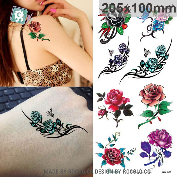 The new waterproof tattoo stickers custom 3d three dimensional roses can be customized wholesale pattern