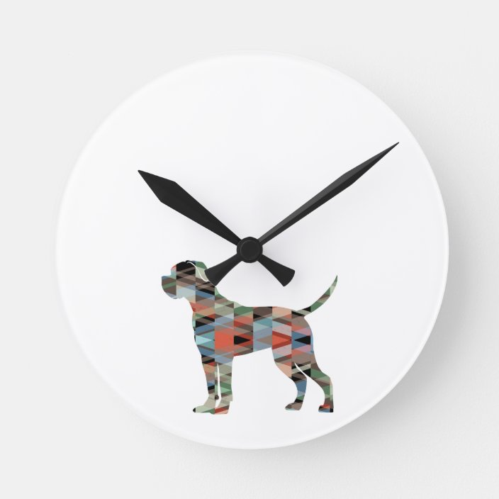 German Wirehaired Pointer Dog Silhouette Wall Clock