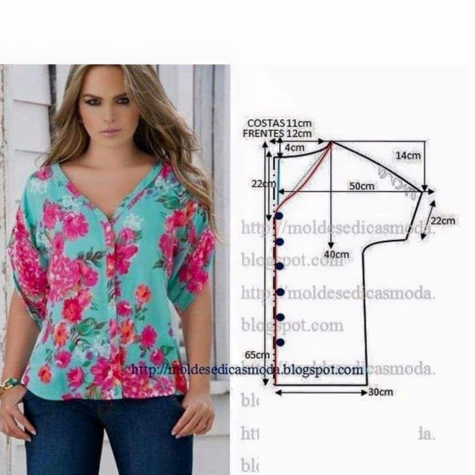 Pin de Maricarmen Ortega en Blusas   Pinterest   Costura, Blusas y ...
