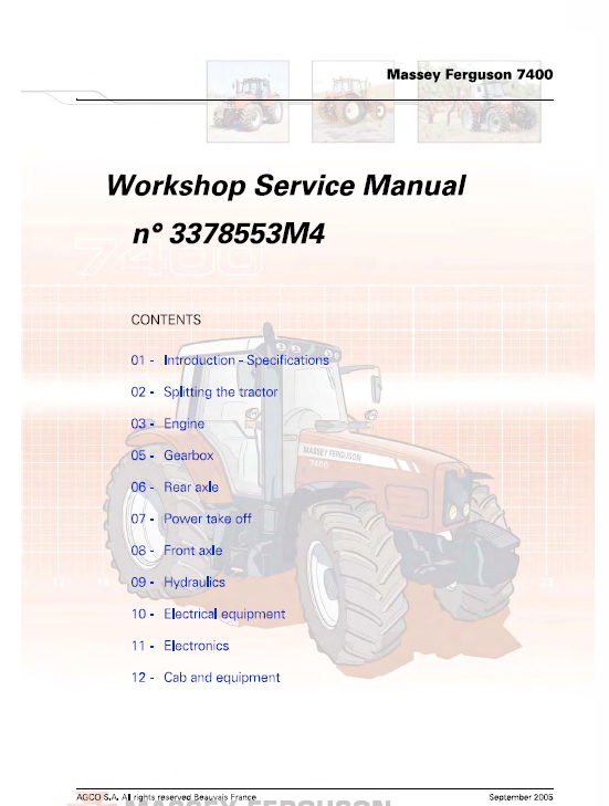 Massey Ferguson 7465 7475 7480 Tractor Service Manual Massey Ferguson Tractors Manual