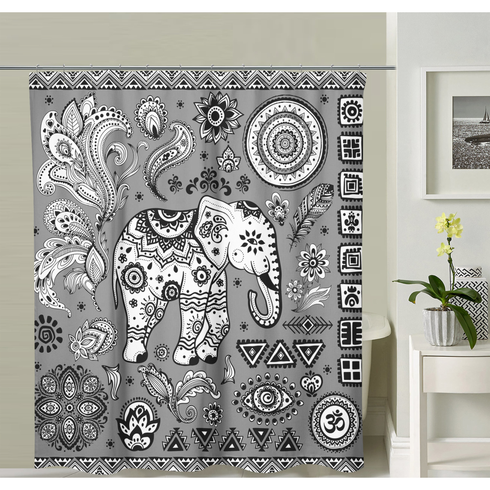 Black And White Elephant Shower Curtain Elephant Shower Curtains