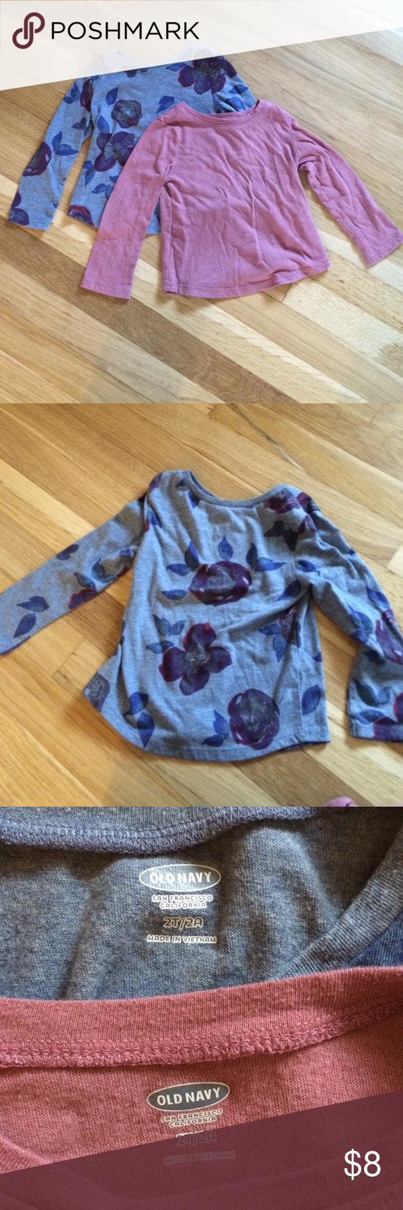 Bundle of 2 Old Navy long sleeve tees Soft cotton shirts for your little girl. They are in excellent condition and like all Old Navy, fit slim. Perfect for layering or wearing alone. These are a staple in our house. Old Navy Shirts & Tops Tees - Long Sleeve