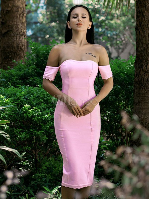Pink Party Dress Sexy Off The Shoulder Short Sleeve Stretched ...