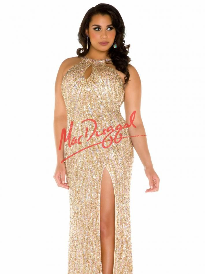 9ca1807abf5 Sequin Plus Size Prom Dress with Keyhole Neckline
