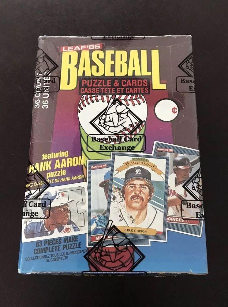 1986 donruss leaf baseball wax box 36 packs bbce