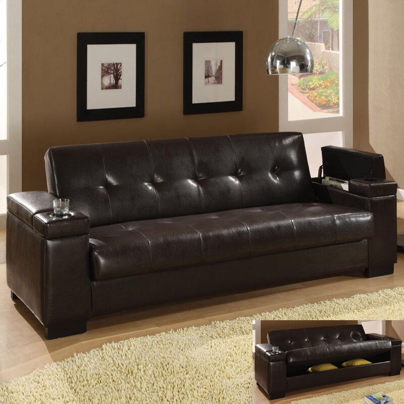 Brown Leather Couch Ebay In 2020 Futon Wohnzimmer Bettsofa Braune Ledercouch