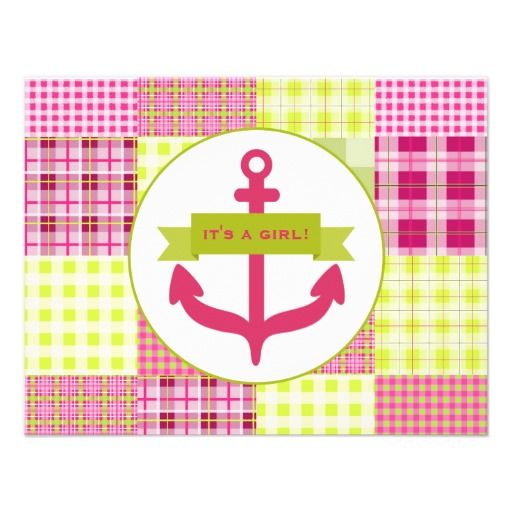 Pink Anchor Baby Shower Personalized Invites by Jill's Paperie