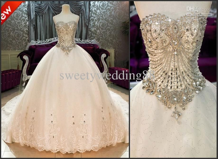 Bling Bling Crystals luxury Sweetheart Lace Applique cathedral ...