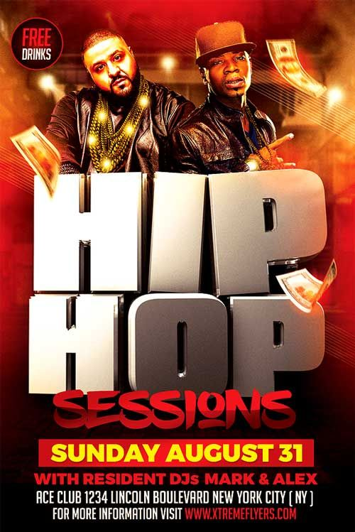 Hip Hop Sessions Flyer Template - http://xtremeflyers.com/hip-hop ...