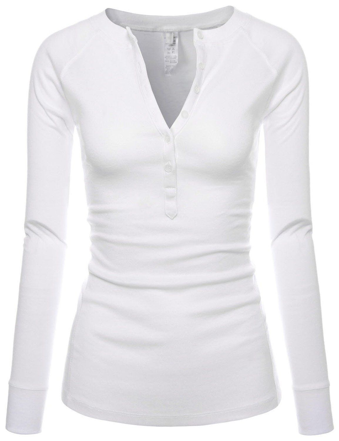 191374658e Womens Fitted Tee Henley Neck Long Sleeve Cotton Tshirts WHITE US L(Tag  size XL) at Amazon Women s Clothing store