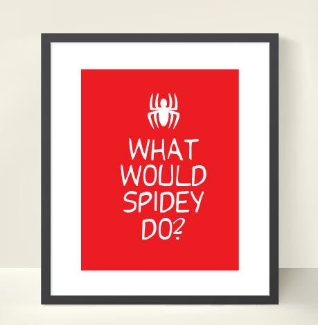 8x10 Red What Would Spidey Do Boys Bedroom Art Print by bellabyte, $14.99