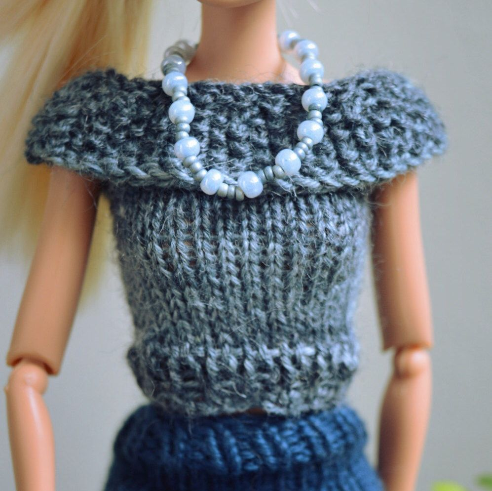 Barbie Clothes Pattern for Knitted Dress and matching ...