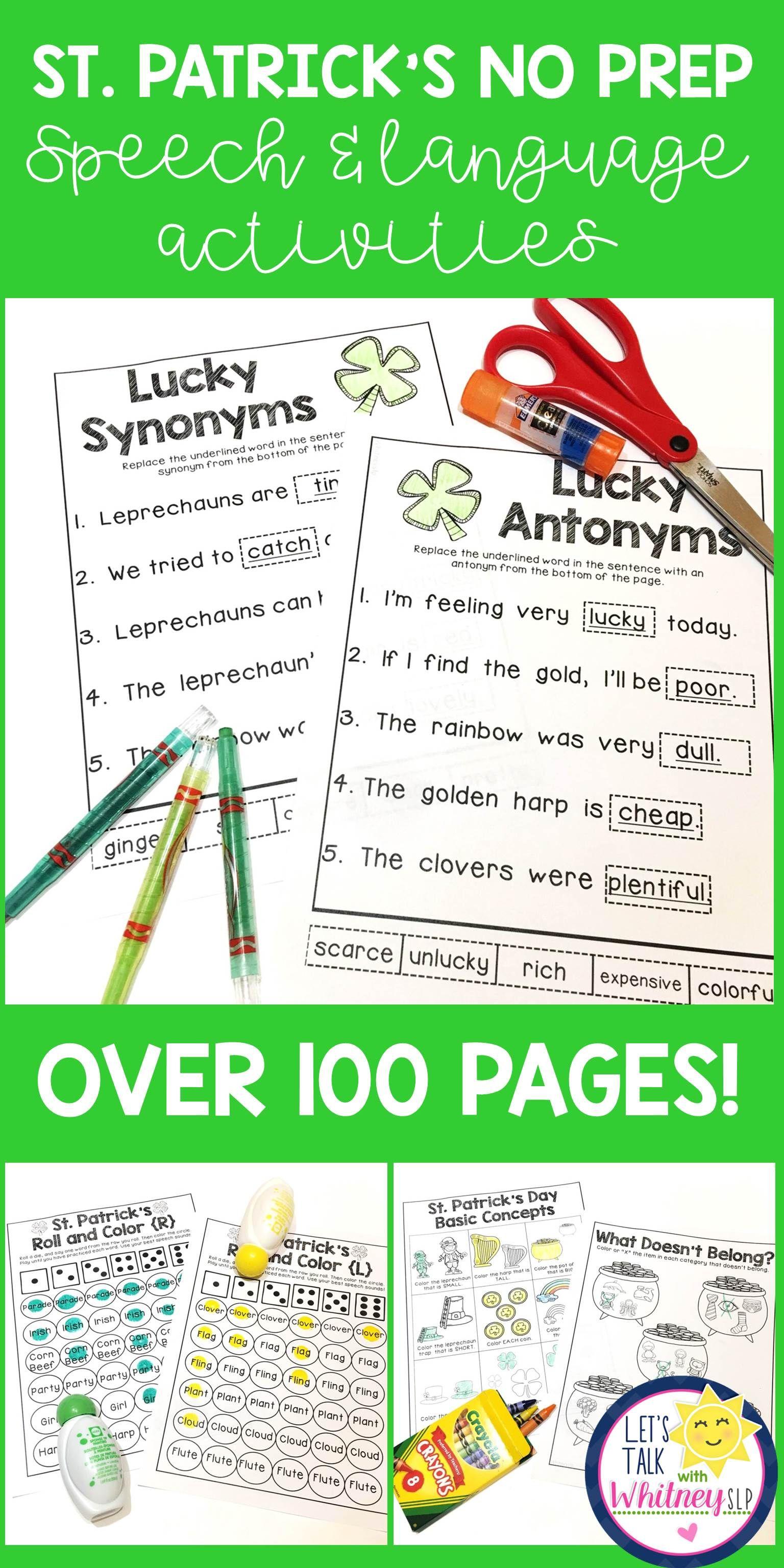 Saint Patrick S Day No Prep Speech Language Unit Speech And Language Synonym Activities Speech Therapy Resources