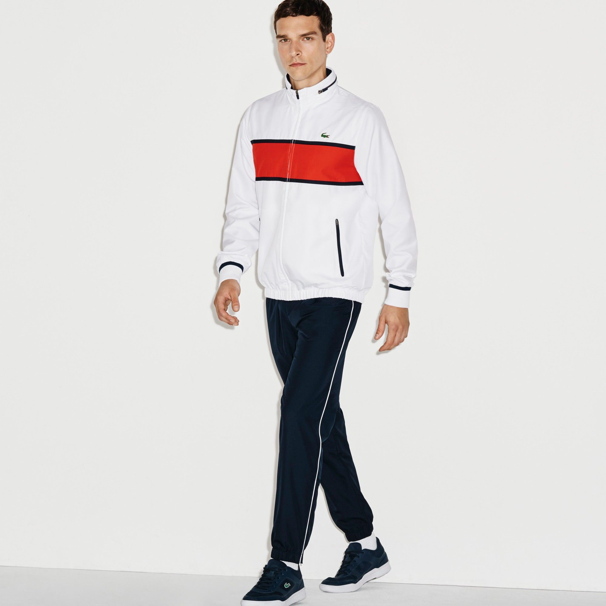 5492a29127 LACOSTE Men's SPORT Colorblock Tennis Tracksuit - white/lust red ...