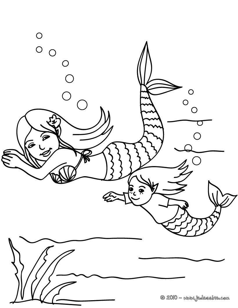Coloriages Sirène Et Bébé Sirène Dans L'eau À Colorier