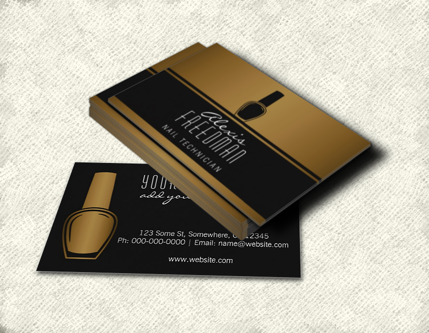Shimmering Gold and Charcoal Black Nail Technician Business Card ...
