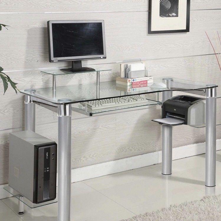 Modern Desktop Computer Desk Clear Glass Table Small Workstation
