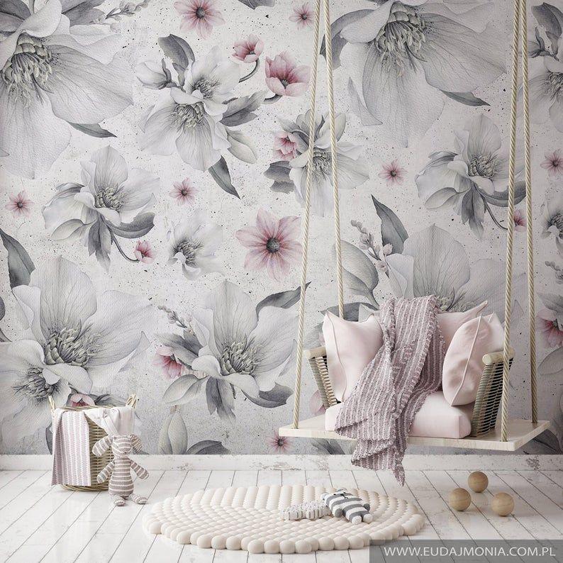 Tapeta W Kwiaty Beauty Flowers Tapeta W Stylu Vintage Etsy Vintage Wallpaper Wallpaper Nursery Wall Decor