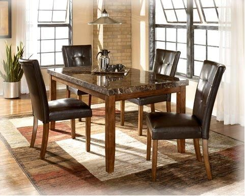Ashley Lacey Faux Marble 5 Piece Dining Set Dining Table