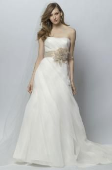 Dreamy Big Floral Sash Strapless Chiffon Chapel Trains Tucked Wedding Dress for New Style -USD $199.99