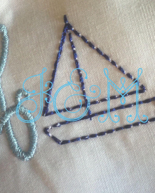 Vintage Stitch Mini Sailboat Embroidery Design by JackNMack