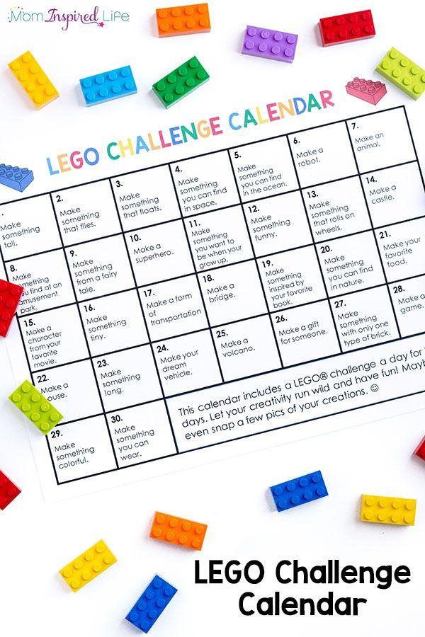 LEGO Challenge Calendar Free Printable LEGO STEM for Kids Lego - activity calendar