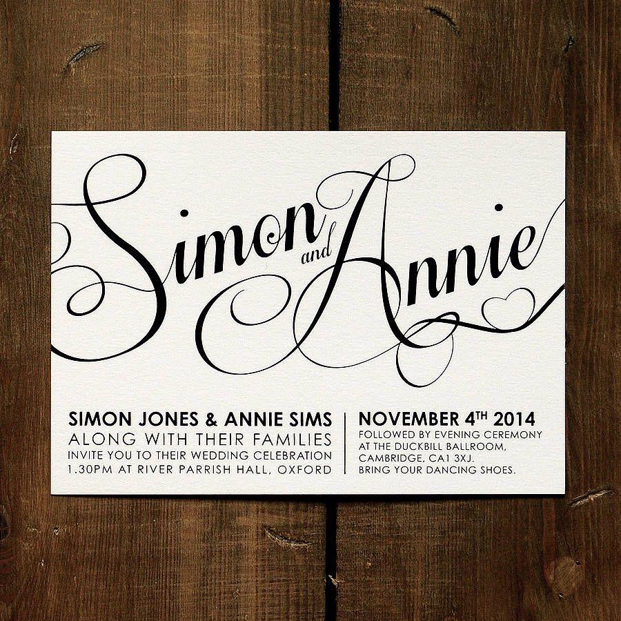 Modern Script Wedding Invitation Stationery | Wedding invitations uk ...