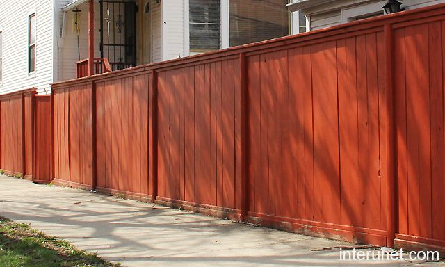 Simple Wood Fence Painted Red Picture With Images Fence Design