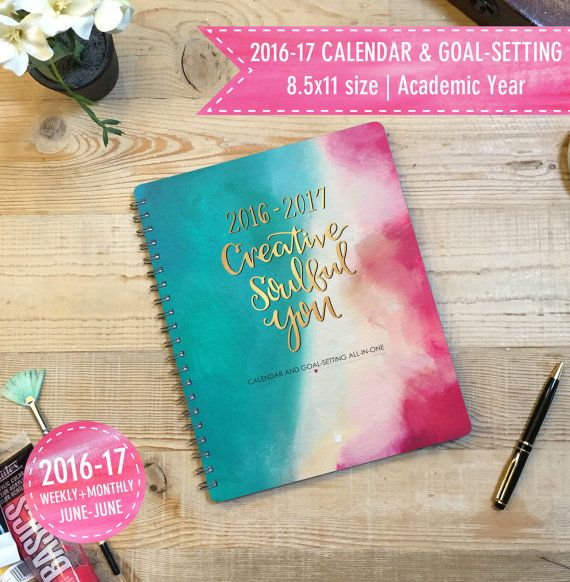 2016 2017 academic year planner goal setting and weekly monthly