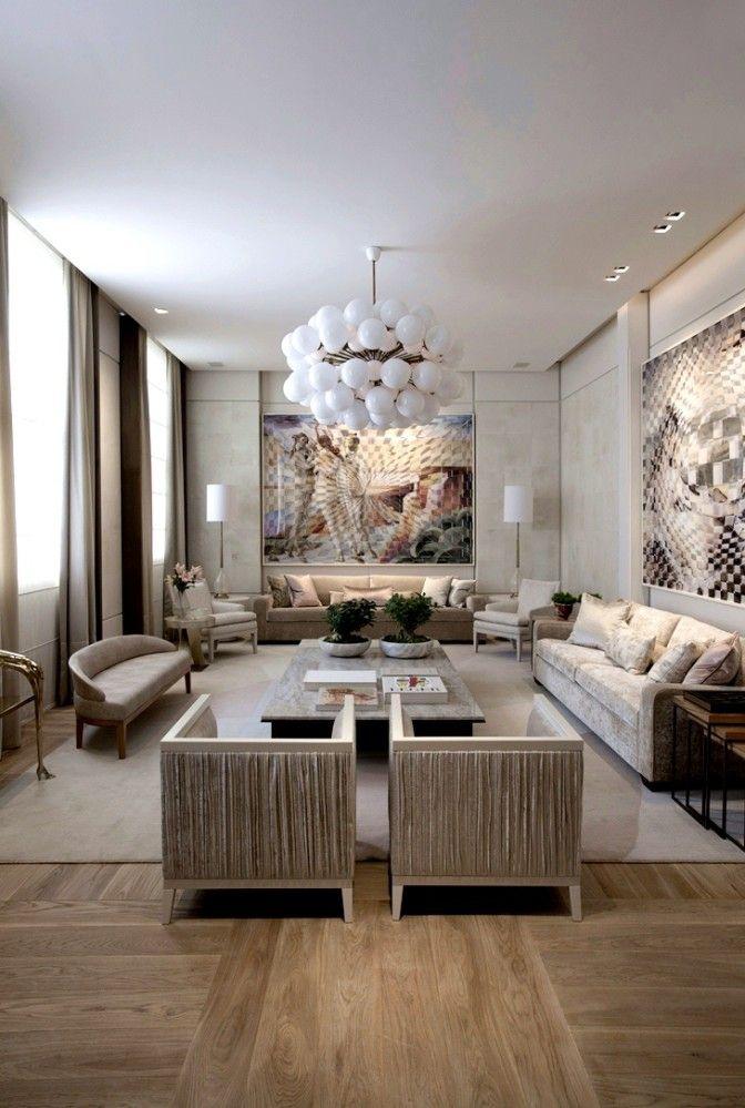 Casa Cor SP 2016 Sala de estar, Piso de madera y Moderno