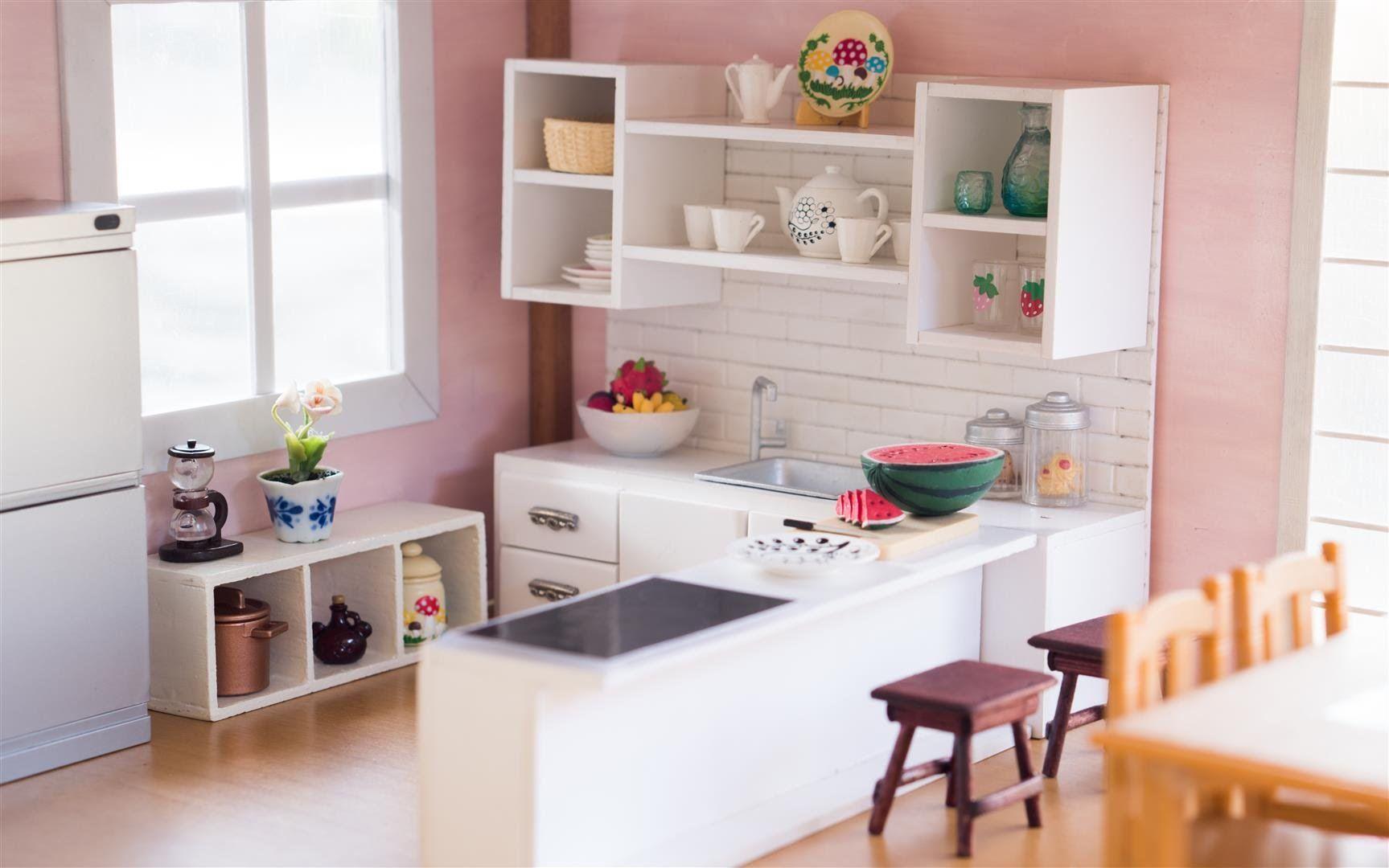 Diy Dollhouse Miniature Kitchen For Nendoroid Dolls Action Figures Miniatures