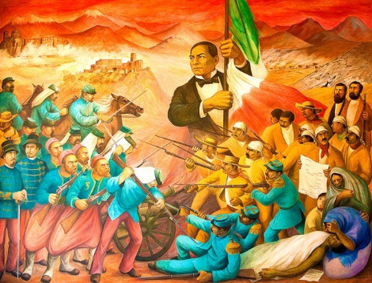 Mural Juarez Simbolo De La Republica Contra La Intervencion