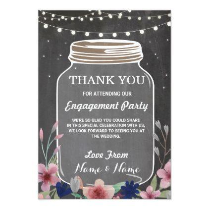Thank You Card Engagement Wedding Jar Chalk Wedding Invitations