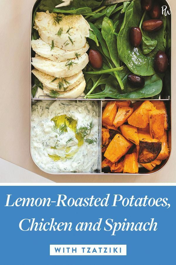Lemon-Roasted Potatoes, Chicken and Spinach with Tzatziki #purewow #cooking #sweet potato #chicken #recipe #under 500 calories #vegetable #meat #easy #meal prep #food #lunch #vegetableschicken