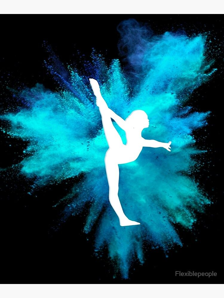 Gymnast Silhouette Blue Explosion On Black Canvas Mounted Print By Flexiblepeople In 2021 Gymnastics Wallpaper Gymnastics Posters Gymnastics Backgrounds
