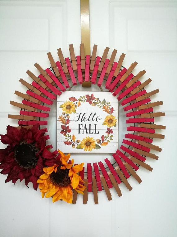 Artikel ähnlich wie Hallo Herbst Kranz, Hallo Herbst Wäscheklammer Kranz auf Etsy #hellofall