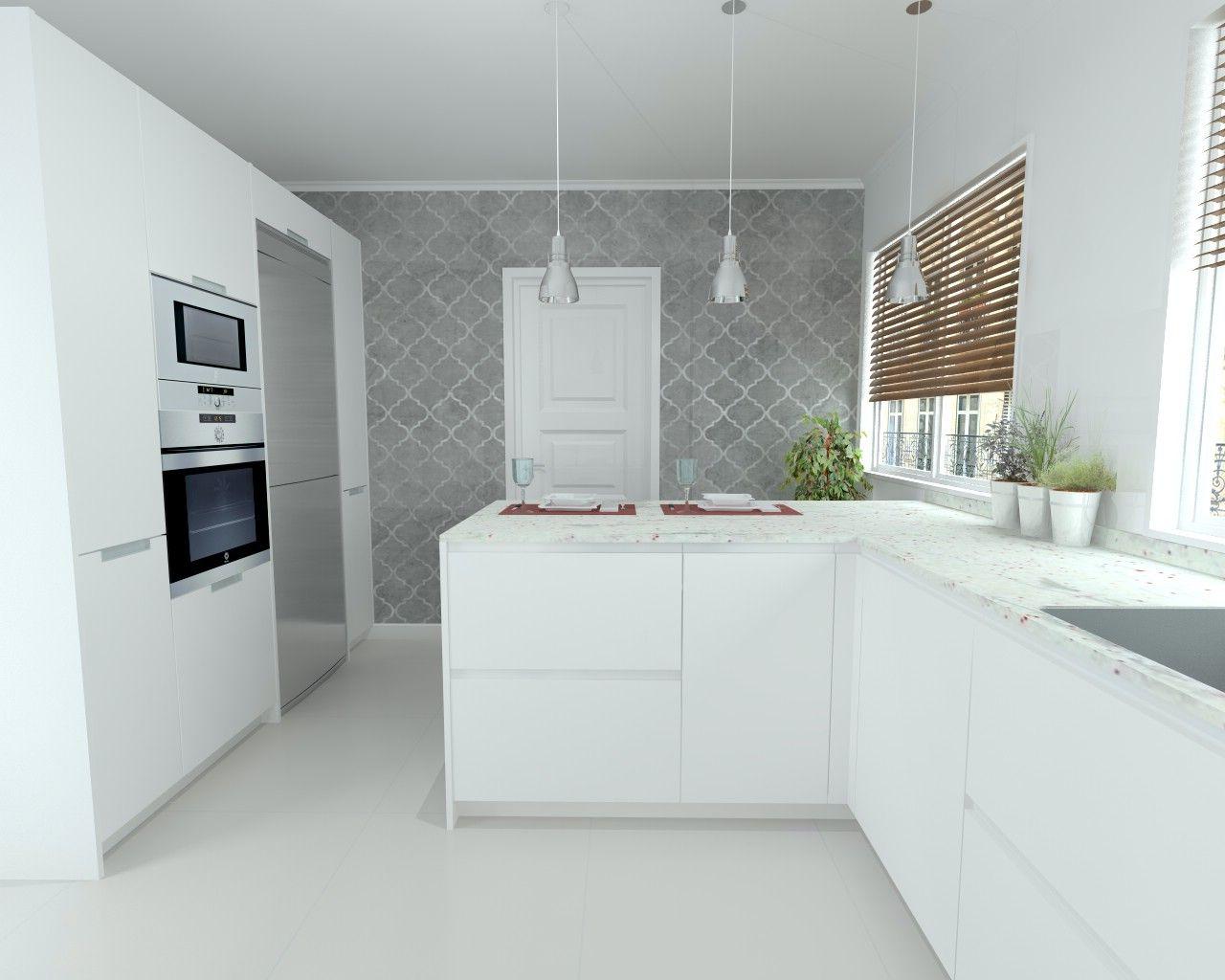 Cocina santos line estratificado blanco encimera granito - Encimera granito blanco ...