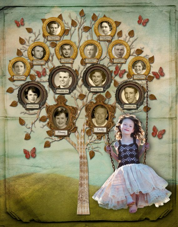 Portrait  Family Trees  with Child Playing by CreativeFamilyTree, $340.00