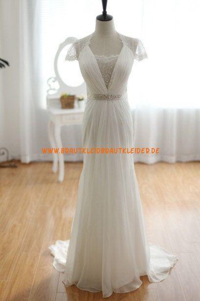 Wunderschöne Elegantes Brautkleid 2013 aus Chiffon mit Perlenstickerei