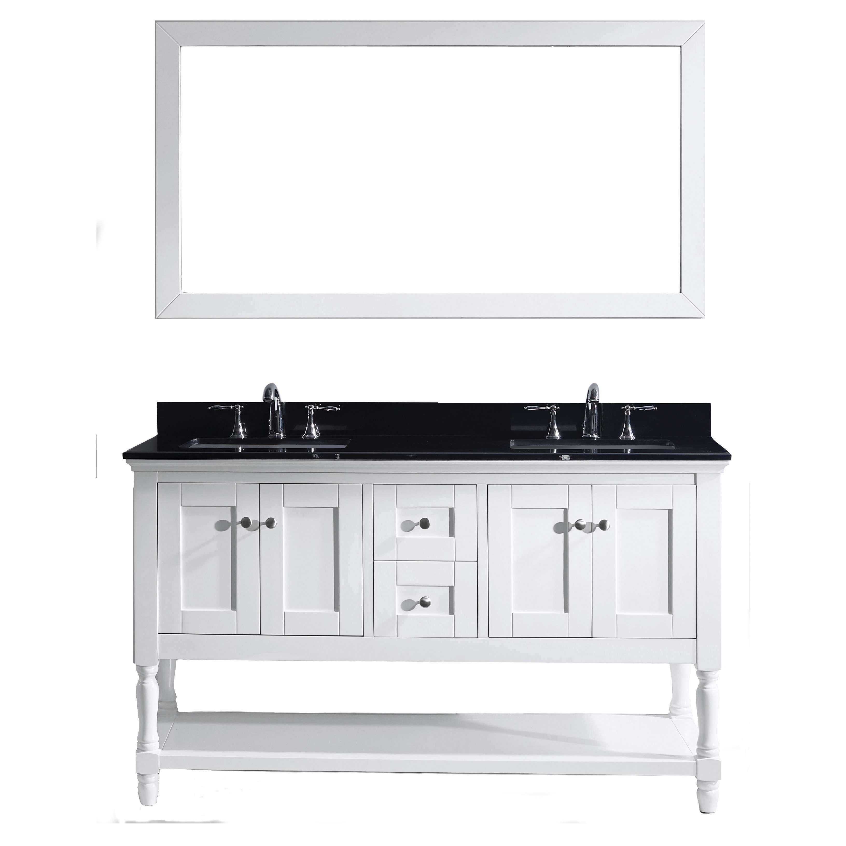 Julianna 60 Inch Double Vanity Black Granite Top With Mirror